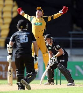 Cricket photo, New Zealand v Australia at Wellington,Brad Haddin,Gareth Hopkins,Australia tour of New Zealand,Australia cricket,New Zealand cricket