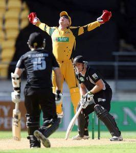 Cricket photo, New Zealand v Australia at Wellington,Brad Haddin,Gareth Hopkins,Australia tour of New Zealand,Australia cricket,New Zealand cricket